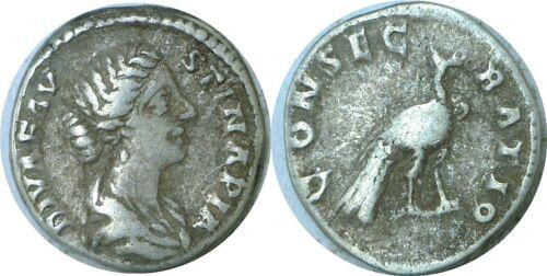 147-175 AD Roman Empire Faustina II Peacock Silver Denarius