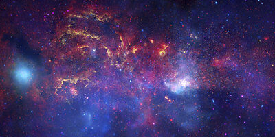 Milky Way Galaxy Center Hubble Deep Space Image Canvas Art Print 32X17 In
