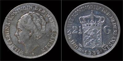 Nederland Wilhelmina I 2 1/2 gulden(rijksdaalder)1939