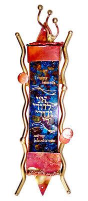 JEWISH WEDDING BROKEN GLASS KEEPSAKE MEZUZAH CASE - Judaica Art -