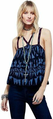 Free People Ryker Printed Sleeveless Pleated Casual Tank sz XS S