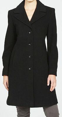 Larry Levine Women's Notch Collar Classic Wool Walking Coat -BLACK size 8 new Classic Notched Collar Coat