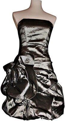 Olivia Formal Silver Dress Ruffled Panel Bandeau, NWOT, Taffeta, M, (Taffeta Bandeau)