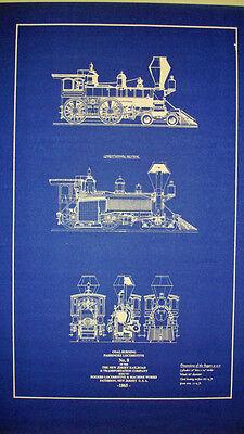 - Vintage Locomotive New Jersey Railroad 1865 Blueprint Plan 14