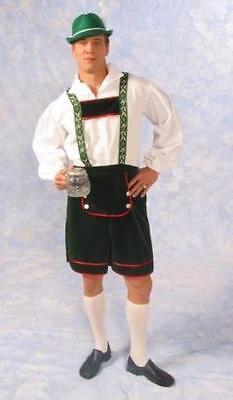 BAVARIAN OKTOBERFEST ALPINE LEDERHOSEN ADULT MEN COSTUME GREEN SHORT SUSPENDERS - Oktoberfest Costumes For Men