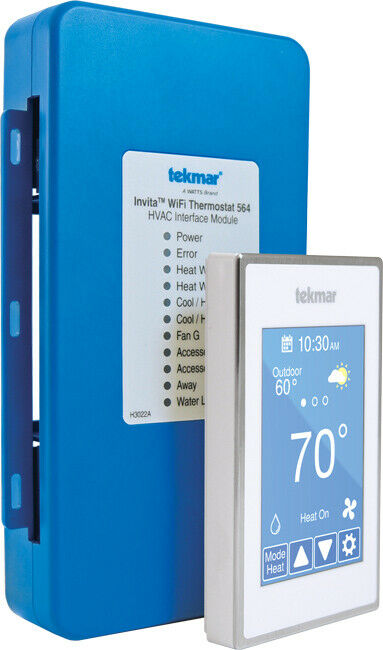 Tekmar 564 Invita Wifi Thermostat, 2 Stage Heat/2 Stage Cool White