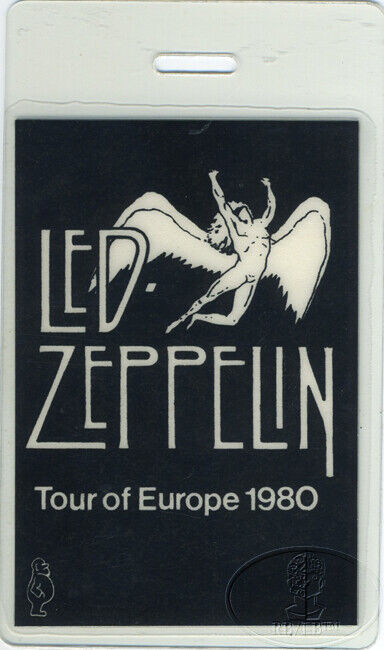 LED ZEPPELIN 1980 Europe Tour Laminated Backstage Pass