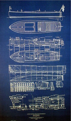 Classic 1923 Speed Boat V-Bottom Blueprint Plan 19x36 (163)