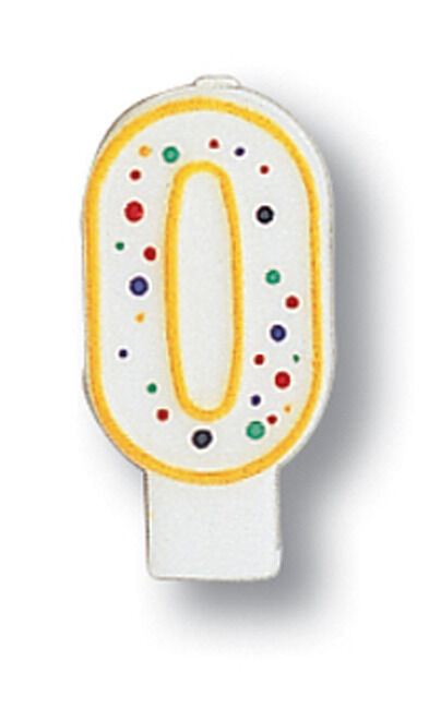 Polka Dot Number 0 Candle - Birthday Party Supplies
