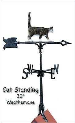 "Whitehall Cat 30"" Color Weathervane with Rooftop Mount Weather Vane -Rust Proof!"