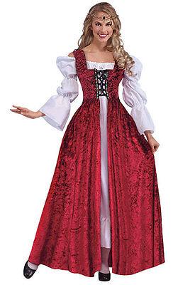 Damen Mittelalter Tudor Rot Weiß Abendkleid & Chemise Kostüm Neu - Tudor Damen Kostüm