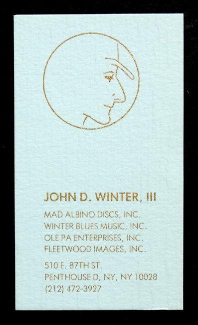 ORIGINAL Vintage JOHNNY WINTER / JOHN D WINTER III Personal Business Card BLUES