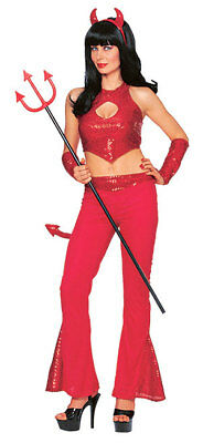 Red Hot Sequin Devil Halloween Cute Sexy Teen Adult Costume