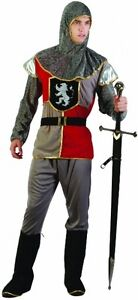 Medieval Adult Knight Costume Crusader Mens Fancy Dress Costume