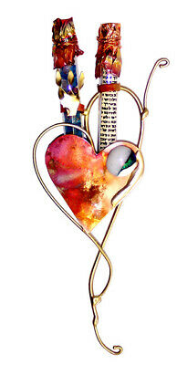 Jewish Wedding HEART MEZUZAH CASE - Broken Glass Shards - Judaica Art -