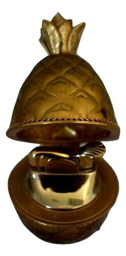 """Evans Gold Pineapple Table Top Lighter 3.75"""" Tall Made In USA Vintage"""