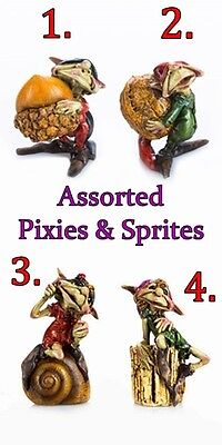 (CHOICE OF 4 PIXIES or SPRITES for FAIRY GARDEN w/ ACORN NUTS, SHELL, & STUMP)