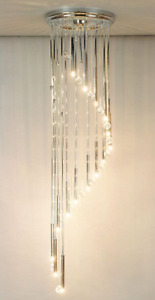 Custom Spiral Light Fixture LED Lights Swarovski Crystals Chrome