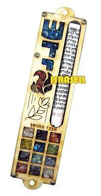 Hoshen & Flower MEZUZAH CASE WITH NON KOSHER SHEMA YISRAEL SCROLL - Door Mezzuza