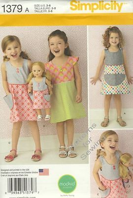 """Pattern Simplicity Girl Size 3-8 & 18"""" inch Doll Clothes Dress New"""