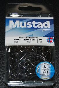 50 Mustad 39944BN-90 Classic In-Line Demon Perfect Circle Hooks Size 9/0