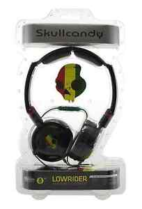 Genuine Skullcandy Lowrider Rasta Black Headphones In Line Mic New & Sealed