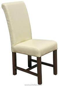 Cream Color Dining Room Chairs, Roll Back Style in Faux Leather