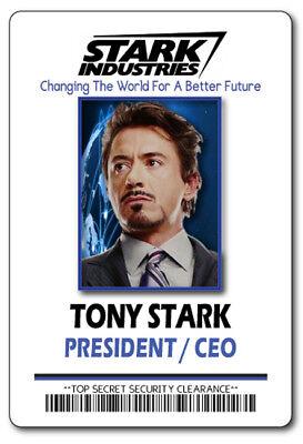 TONY STARK, STARK INDUSTRIES IRON MAN NAME BADGE HALLOWEEN COSPLAY PIN BACK](Tony Stark Halloween Costume)