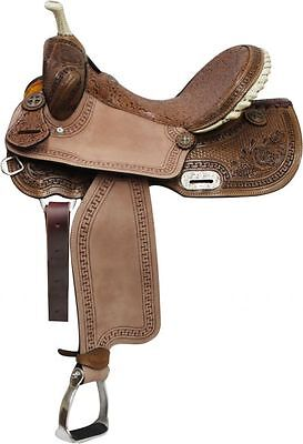 Double T Brown Filigree Seat BARREL Saddle with Floral & Basket Weave Tooling  ()