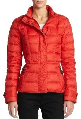 NWT BURBERRY WOMEN RED QUILTED PUFFER CHECK ZIPPER DOWN JACKET COAT SZ XS Burberry Quilted Check