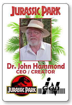 DR JOHN HAMMOND JURASSIC PARK NAME BADGE PROP HALLOWEEN COSPLAY PIN BACK