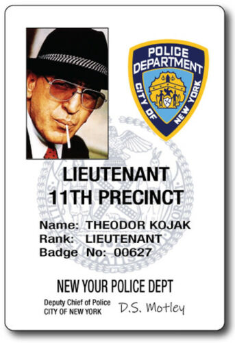 DETECTIVE KOJAK NY PD ID NAME BADGE TAG PROP HALLOWEEN COSPLAY MAGNETIC BACK