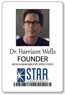 DR HARRISON WELLS FROM THE FLASH NAME BADGE HALLOWEEN COSPLAY PIN BACK - Harrison Halloween