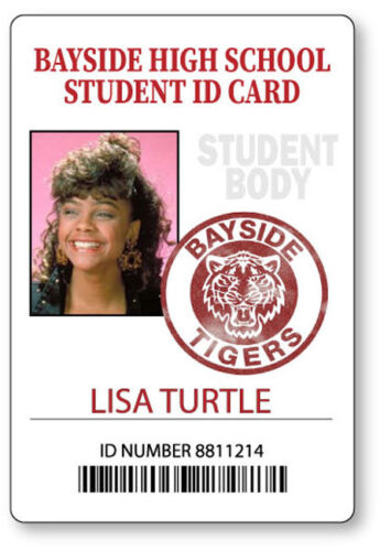 LISA TURTLE BAYSIDE SAVED BY THE BELL  NAME BADGE HALLOWEEN COSPLAY PIN BACK