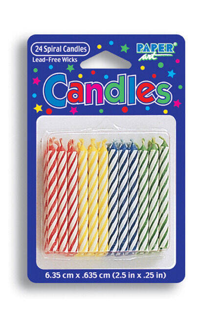 Assorted Primary Color Candles (24) - Birthday Party Supplies