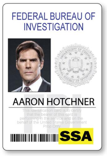 CRIMINAL MINDS AARON HOTCHNER NAME BADGE PROP HALLOWEEN COSPLAY MAGNET BACK