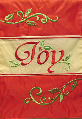 "Joy Applique Christmas Garden Flag Double Sided Holiday Yard Banner 12"" x 18"""