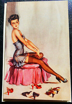 RETRO 20's NOTE CARD Sexy Brunette in Lingerie Trying on Shoes NOS/MINT MPL UK