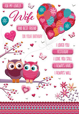GORGEOUS COLOURFUL FOR MY LOVELY WIFE & BEST FRIEND BIRTHDAY GREETING CARD (Best Birthday Greetings For Best Friend)