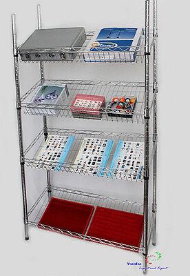 Gitterregal Wühlkorb Verkaufständer Regal Warenständer Chrom schräg