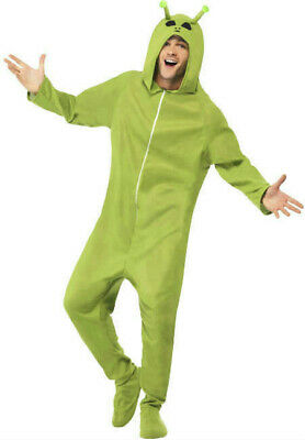 Smiffys Men's Green Alien Adult Footed Costume Jumpsuit with Hood Size - Mens Alien Costume