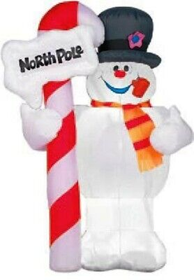 RARE 4ft Airblown Frosty The Snowman With North Pole Sign Yard Inflatable