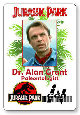 ALAN GRANT JURASSIC PARK NAME BADGE PROP HALLOWEEN COSPLAY PIN