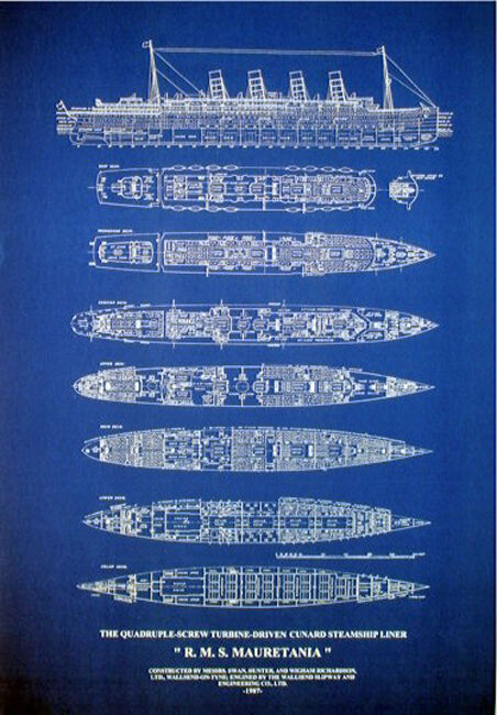 Cunard Line RMS Mauretania 1907 Blueprint Plan Display 19x29  (177)