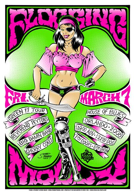 "Flogging Molly Concert Poster 2008 Greg ""Stainboy"" Reinel"