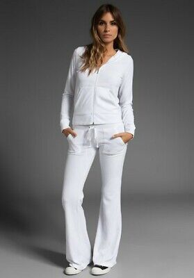 WOMENS JUICY COUTURE WHITE TERRY FLARE PANT WITH SNAP POCKETS - MEDIUM
