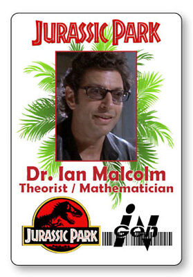 DR IAN MALCOLM JURASSIC PARK NAME BADGE PROP HALLOWEEN COSPLAY PIN BACK
