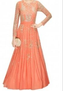 CORAL PEACH SHIMMER GOWN for prom, wedding, paryy etc. - SIZE M
