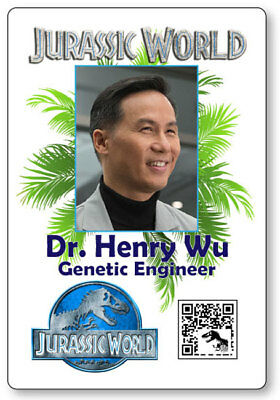 DR HENRY WU JURASSIC WORLD NAME BADGE PROP HALLOWEEN COSPLAY PIN - Dr Halloween Names