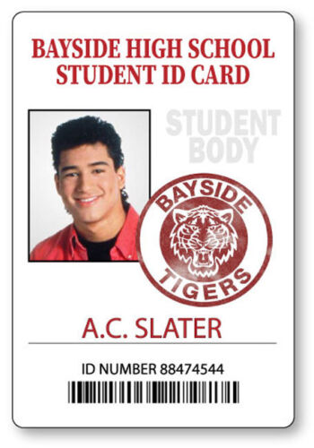 AC SLATER SAVED BY THE BELL BAYSIDE  NAME BADGE PROP HALLOWEEN COSPLAY PIN BACK